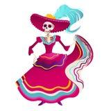Dag av den döda traditionella mexicanska illustrationen för vektor för lägenhet för inbjudan för baner för allhelgonaaftonDia De  vektor illustrationer