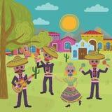 Dag av den döda traditionella mexicanska illustrationen för vektor för parti för allhelgonaaftonDia De Muertos ferie, designbestå royaltyfri illustrationer