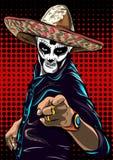 Dag av den döda vektorn för sockerskalleman mexikansk skalle de diameter los muertos illustration för diagram för fyrverkerier ep stock illustrationer