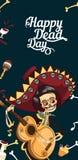 Dag av den skelett- affischen för död man med copyspace royaltyfri illustrationer