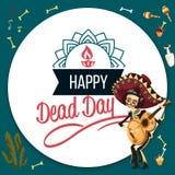 Dag av den skelett- affischen för död man med copyspace vektor illustrationer