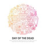 Dag av det döda cirkelbegreppet stock illustrationer