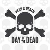 Dag av det döda trycket Skalle- och benlogo eller Royaltyfri Fotografi