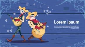 Dag av gitarren för lek för död traditionell mexicansk för allhelgonaaftonferieparti för garnering inbjudan för baner den skelett vektor illustrationer