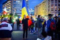 Dag 105 av protesten, Bucharest, Rumänien Royaltyfria Bilder