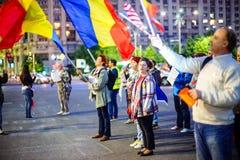 Dag 105 av protesten, Bucharest, Rumänien Royaltyfri Fotografi
