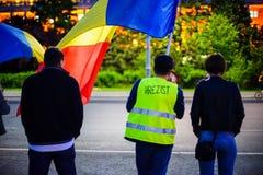 Dag 105 av protesten, Bucharest, Rumänien Royaltyfria Foton