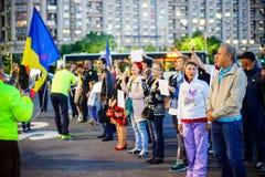 Dag 108 av protesten, Bucharest, Rumänien Royaltyfria Bilder