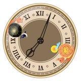 Dag en nacht binnen klok stock illustratie