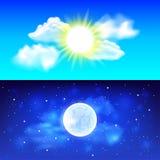 Dag en nacht hemel vectorachtergrond stock illustratie