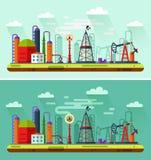 Dag en nacht illustratie van olieextractie Stock Afbeelding