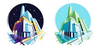 Dag en nacht moderne gebouwen De mening van het perspectief Vectorillustratieinzameling royalty-vrije illustratie