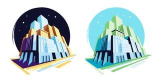 Dag en nacht moderne gebouwen De mening van het perspectief Vectorillustratieinzameling vector illustratie