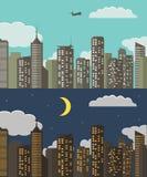 Dag en nacht stedelijk landschap De Achtergrond van de de zomerstad Vector illustratie Stock Afbeeldingen