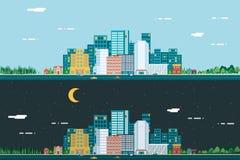 Dag en nacht Stedelijke Landschapsstad Real Estate Stock Afbeelding