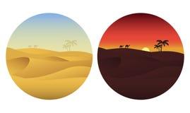 Dag en nacht in woestijn Stock Foto's