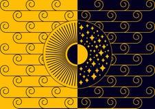 Dag en nacht zwart-Geel Royalty-vrije Stock Afbeelding