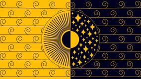 Dag en nacht zwart-Gele Lijn vector illustratie