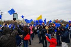 Dag för europeisk union 60 år årsdag i Bucharest, Rumänien Royaltyfri Bild