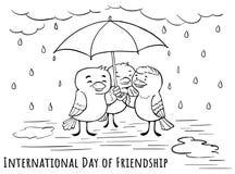 Dag för hälsningkort av kamratskap - under umbrells med fri stock illustrationer