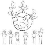 Dag för jord för världshandattraktion stock illustrationer