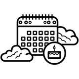 Dag för kalender för födelsedagkaka vektor illustrationer
