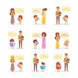 Dag för lärare` s Studenten ger lärareblommavektorn cartoon Isolerad konst stock illustrationer