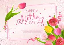 Dag för mödrar för hälsningkort stock illustrationer