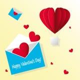 Dag för ` s för valentin för pappers- kort för vektor Öppna kuvertet med att flyga röda hjärtor och varm ballong för luft på gul  stock illustrationer