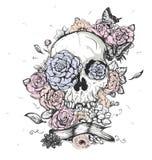 Dag för skalle- och blommavektorillustration av dödaen royaltyfri illustrationer