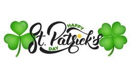 Dag för St Patrick ` s Växt av släktet Trifoliumtreklöversidor och bokstäver för St Patrick ` s st för kantdagpattys royaltyfri illustrationer