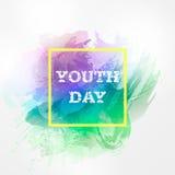 Dag för ungdom för vektorillustrationforInternational Räcka den utdragna vattenfärgen ljus feriebakgrund på 12 augustHappy Yout Royaltyfria Bilder