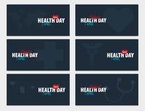 Dag för världshälsa 7 April Uppsättning av det medicinska banret också vektor för coreldrawillustration stock illustrationer