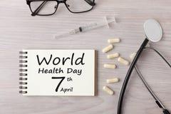 Dag för världshälsa 7th April Concept Arkivbilder