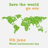 Dag för världsmiljö - femte juni, sparar världsillustrationen Royaltyfria Bilder