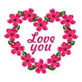Dag för valentin` s, hjärta av blommor royaltyfri illustrationer
