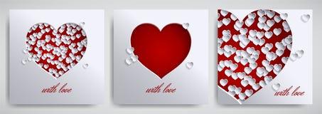 Dag för valentin` s, uppsättning för design för dag för moder` s Hälsningkort, banersamling Cutted pappershjärtor på vit satäng stock illustrationer