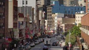 Dag Hoge Hoek die Schot van Manhattans-Chinatown vestigen stock video