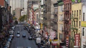 Dag Hoge Hoek die Schot van Manhattans-Chinatown vestigen stock footage