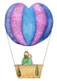 Dag, illustration eller vykort för valentin` s av pardvärgpapegojor i en ballong för varm luft - snabb bana för arbete som isoler Arkivfoto
