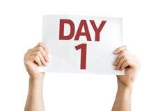 Dag 1 kaart op witte achtergrond wordt geïsoleerd die Stock Fotografie