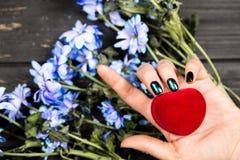 dag som ger handhjärtaholdingen som mottar s-valentinen royaltyfri fotografi