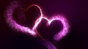 Dag två för valentin` s förband att glöda röda och rosa ljusa partikelhjärtor stock illustrationer