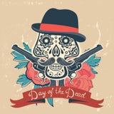 Dag van de dode kaart met uitstekende schedel, bloemen Royalty-vrije Stock Afbeelding