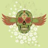 Dag van de Dode kleurrijke Schedel met bloemenornament en vleugels royalty-vrije illustratie
