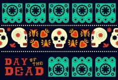 Dag van de dode moderne decoratie van het schedelpatroon vector illustratie