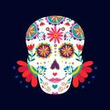 Dag van de dode schedel voor Mexicaanse viering royalty-vrije illustratie
