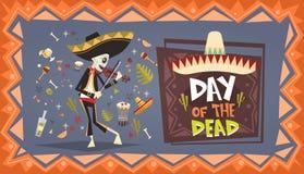 Dag van de Dode Traditionele Mexicaanse Decoratie van Halloween Dia De Los Muertos Holiday Party Stock Illustratie