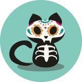 Dag van de de Doden, Dias DE los Muertos, het leuke zwarte de kattenskelet van Halloween en illustratie van de bloemschedel royalty-vrije illustratie