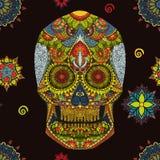 Dag van de Doden Hand Getrokken Schedel ornamentrd vectorbloemen Stock Afbeelding